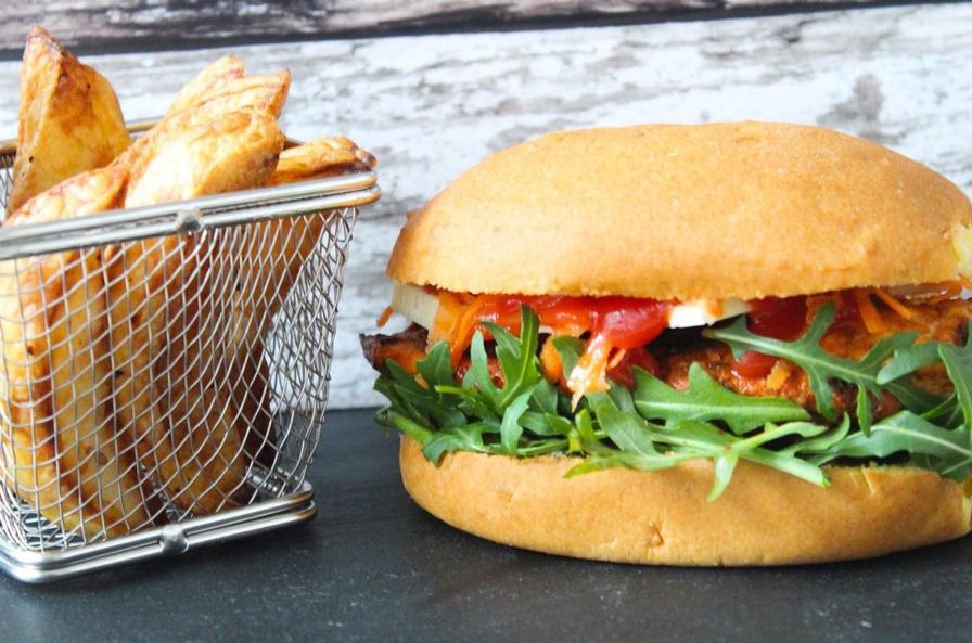 Paprika Chicken Burger With Salt Pepper Wedges